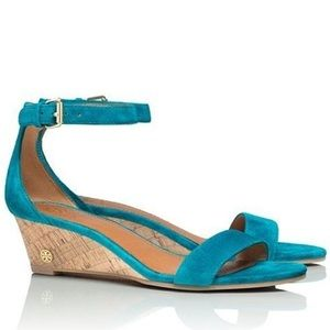Tory Burch Turquoise Savannah Wedge Sandals